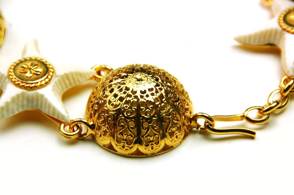 Chanel Goldtone Choker with Domes and White Resin Starfish 5