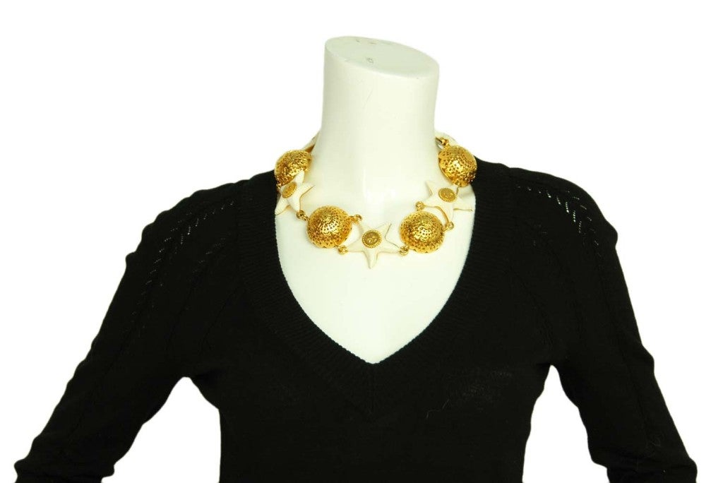 Chanel Goldtone Choker with Domes and White Resin Starfish 9