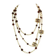 CHANEL Long Chain Necklace with Burgundy Beads/Faux Pearl & CCs