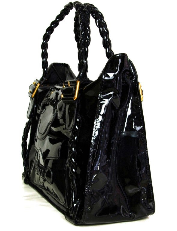VALENTINO Black Patent Leather Histoire Bag with Braided Handles 2