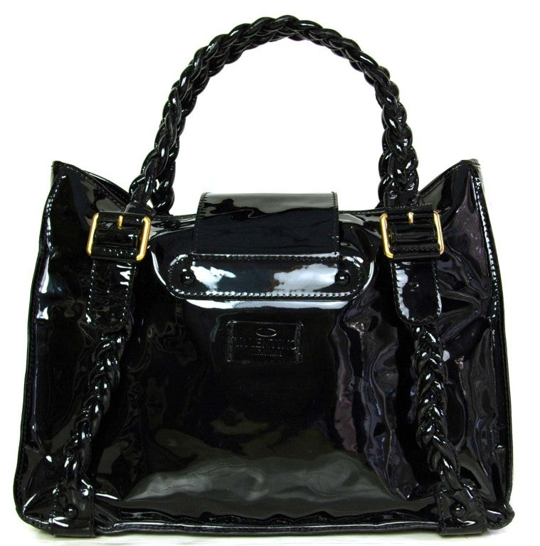 VALENTINO Black Patent Leather Histoire Bag with Braided Handles 3