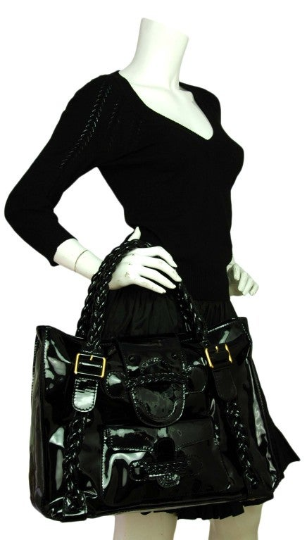 VALENTINO Black Patent Leather Histoire Bag with Braided Handles 9