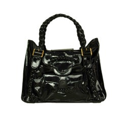 VALENTINO Black Patent Leather Histoire Bag with Braided Handles
