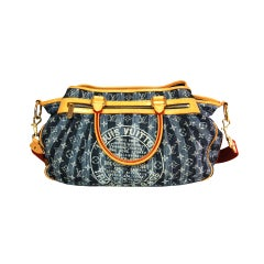 LOUIS VUITTON Denim Cabas Raye GM Bag with Strap
