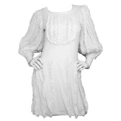 CHANEL White Cotton Ruffle Dress