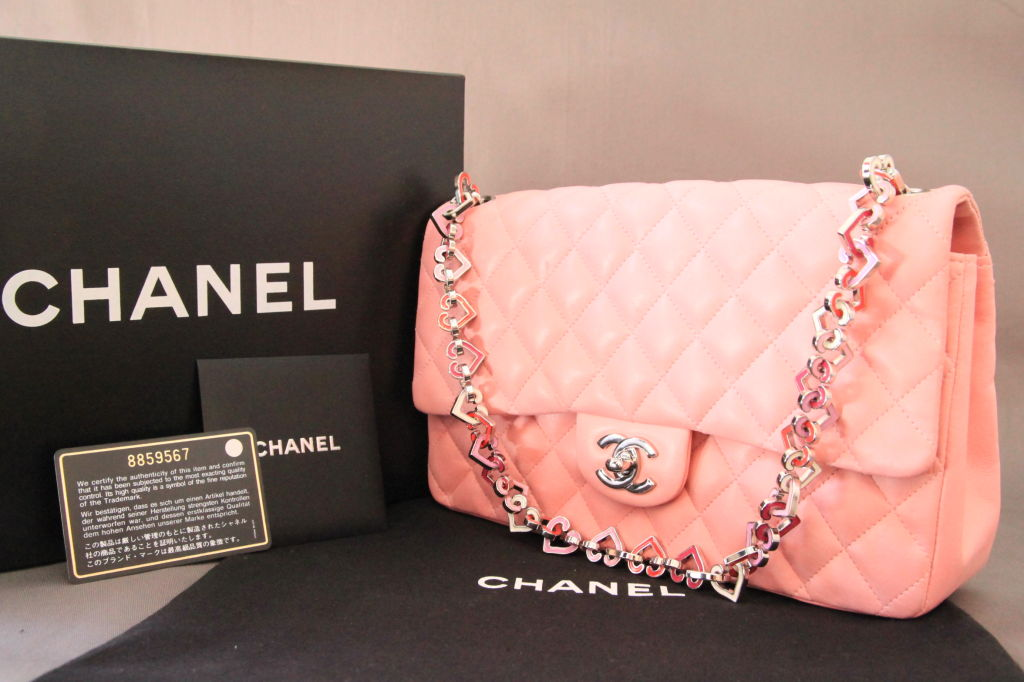 "Chanel Valentine Heart Chain Pink Quilted Leather 10"" Flap Bag For Sale 7"