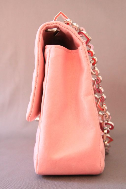 "Chanel Valentine Heart Chain Pink Quilted Leather 10"" Flap Bag 3"