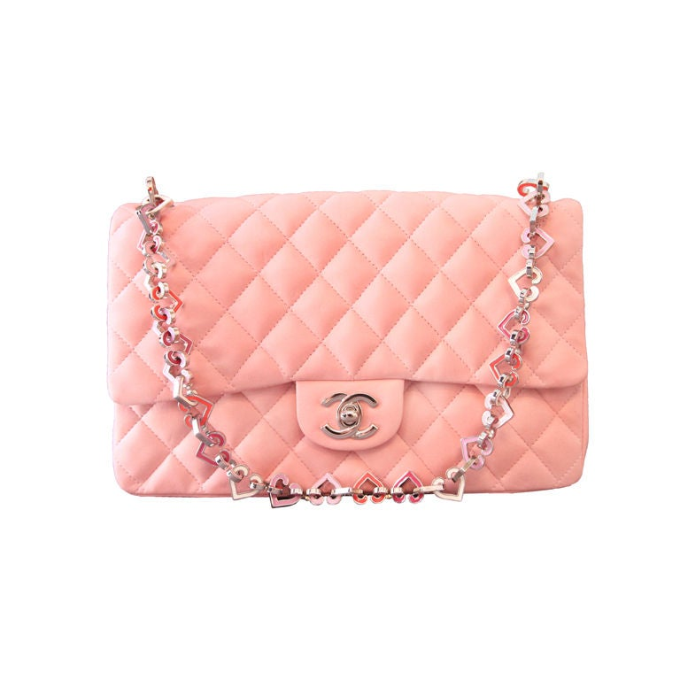"Chanel Valentine Heart Chain Pink Quilted Leather 10"" Flap Bag For Sale"