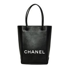 CHANEL Black Leather Shopping Bag