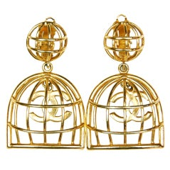 CHANEL Gold Cage Earrings with Dangling CC