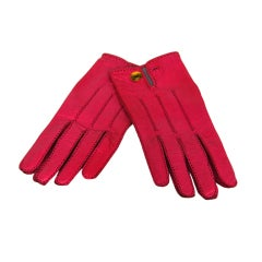HERMES Pink Leather Gloves