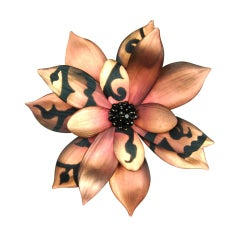 ALEXIS BITTAR Pink Flower Pin with Black Beaded Center