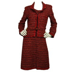 CHANEL Red Tweed Sleeveless Dress with Jacket