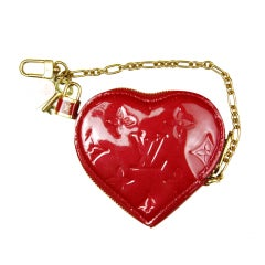 LOUIS VUITTON Red Monogram Vernis Leather Heart Coin Purse