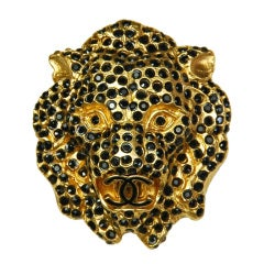 CHANEL Gold Lion Head Beaded Brooch