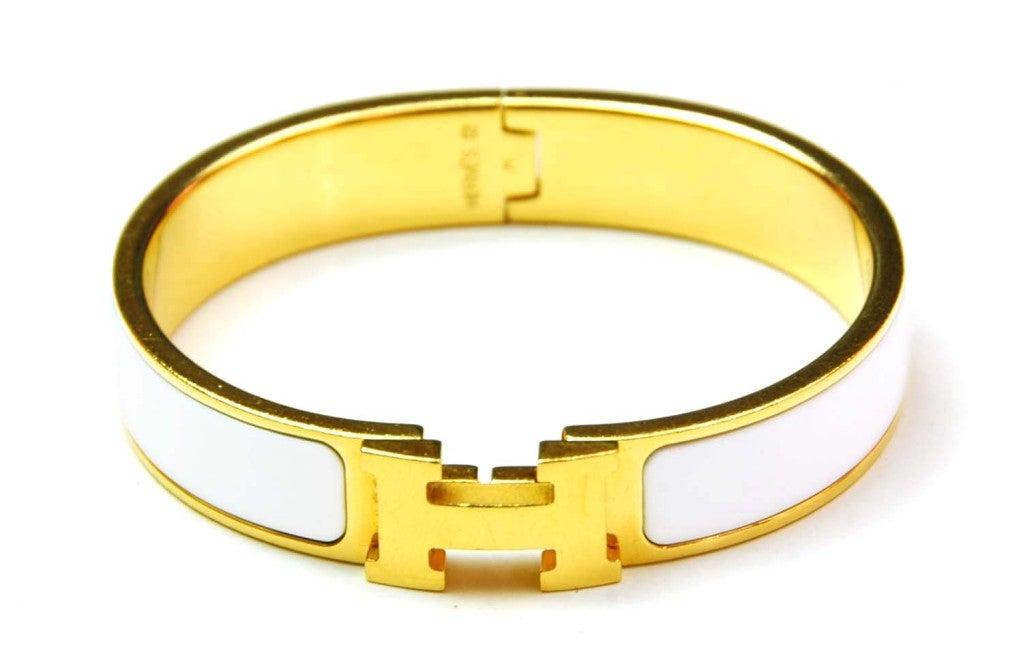 hermes white narrow h clic clac bracelet at 1stdibs