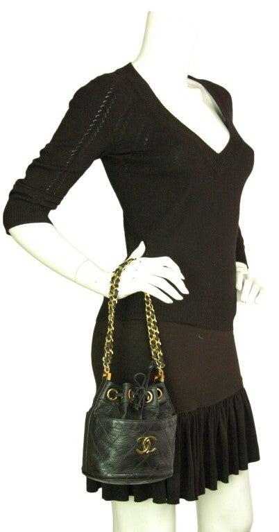 CHANEL Black Leather Mini Drawstring Bag 10