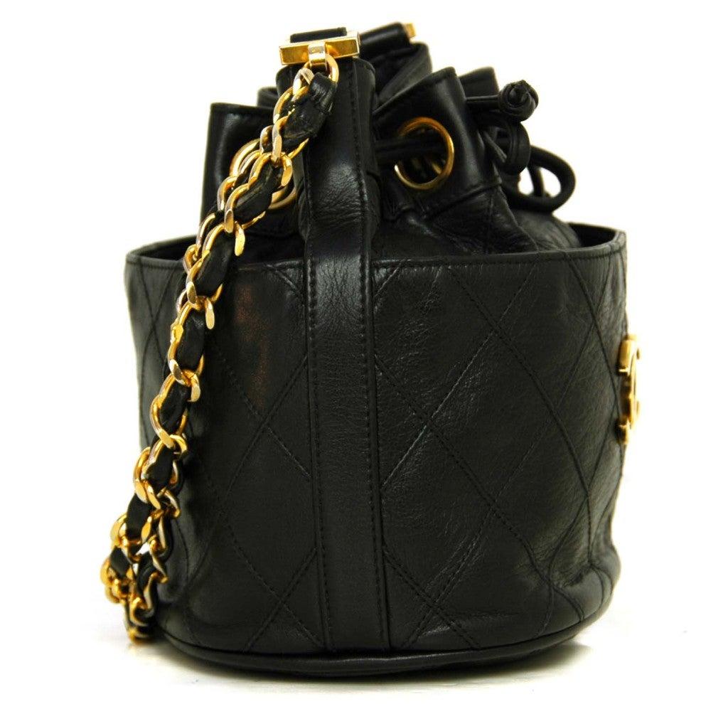 CHANEL Black Leather Mini Drawstring Bag 2