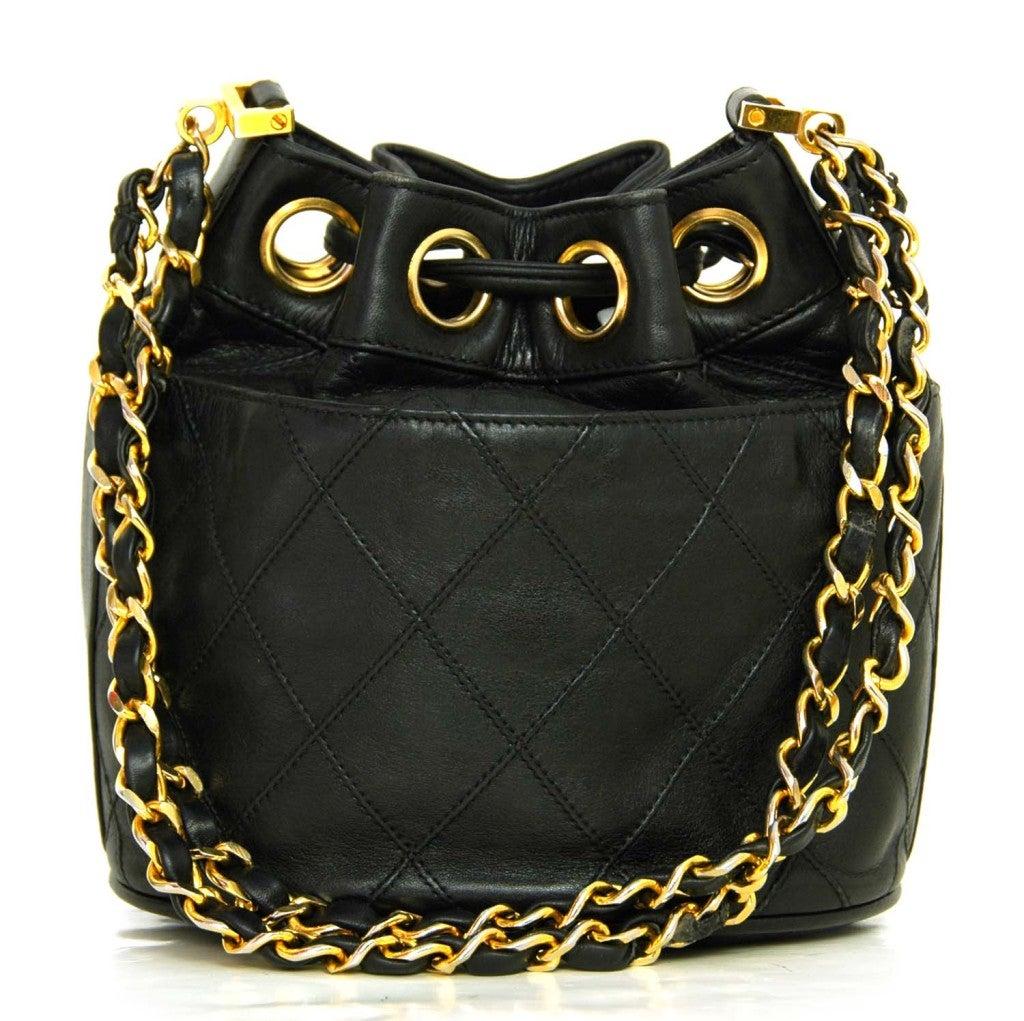 CHANEL Black Leather Mini Drawstring Bag 3