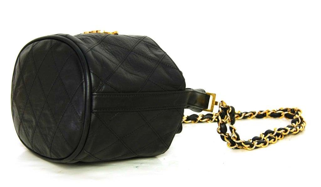 CHANEL Black Leather Mini Drawstring Bag 4