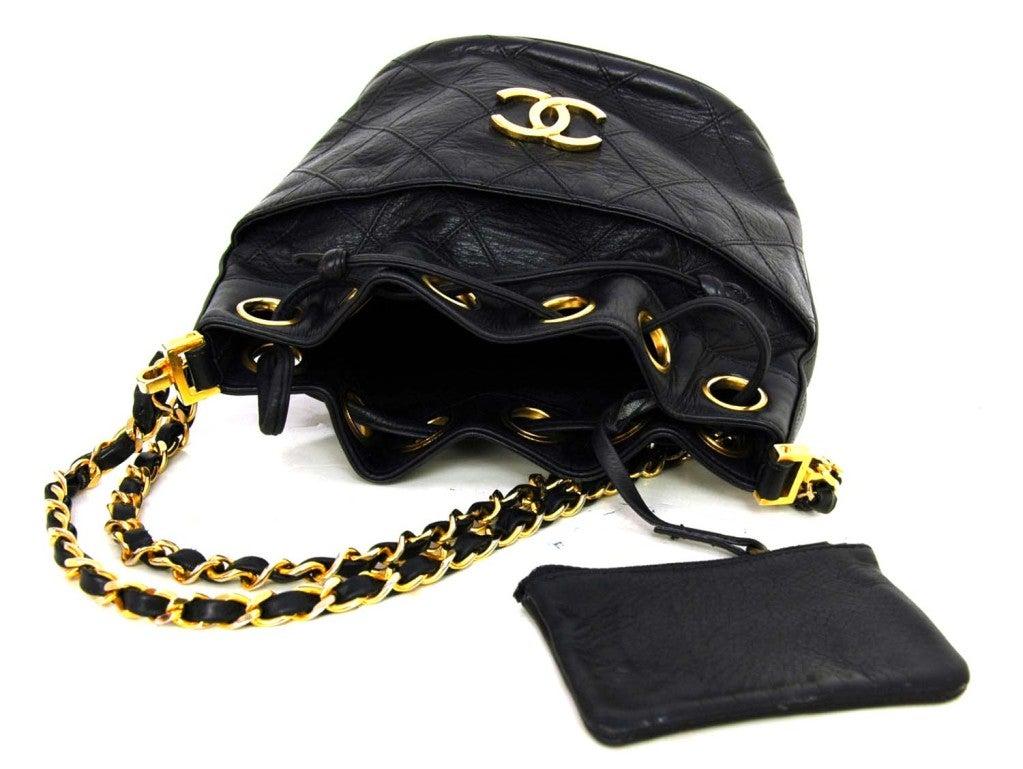 CHANEL Black Leather Mini Drawstring Bag 5