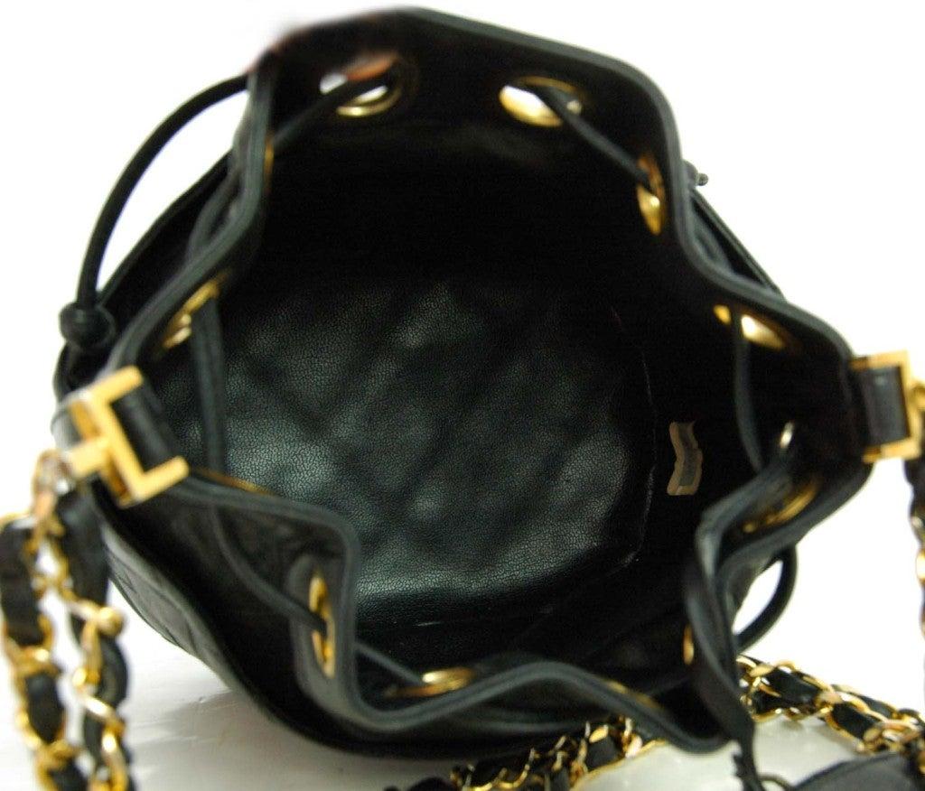 CHANEL Black Leather Mini Drawstring Bag 6