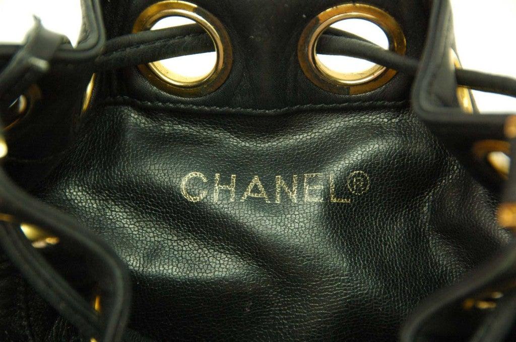 CHANEL Black Leather Mini Drawstring Bag 8