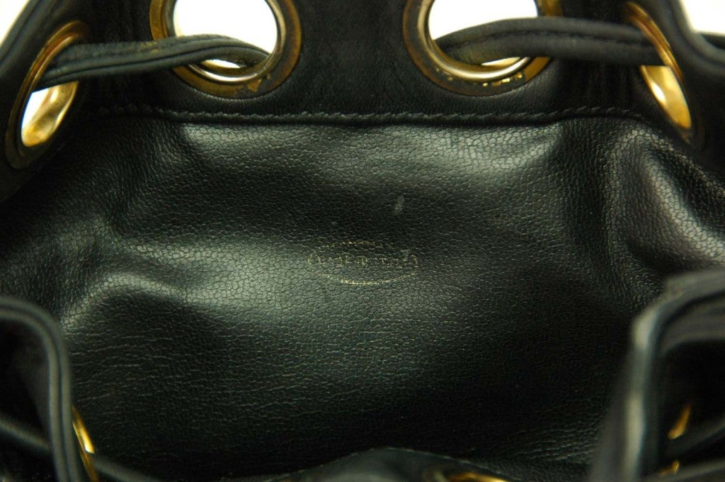 CHANEL Black Leather Mini Drawstring Bag 9