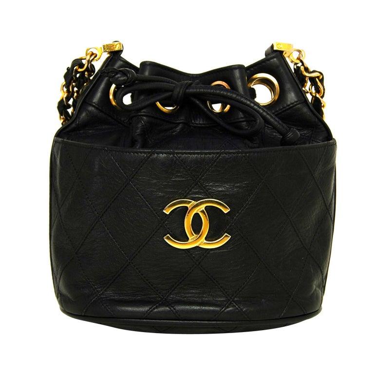 CHANEL Black Leather Mini Drawstring Bag 1
