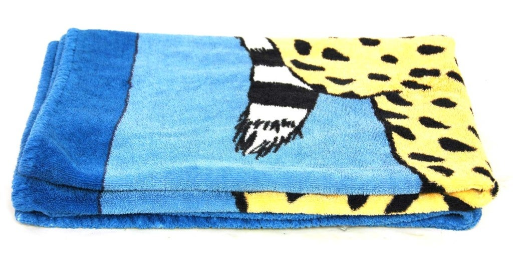 HERMES Blue Cotton Beach Towel with Leopard Painting image 2