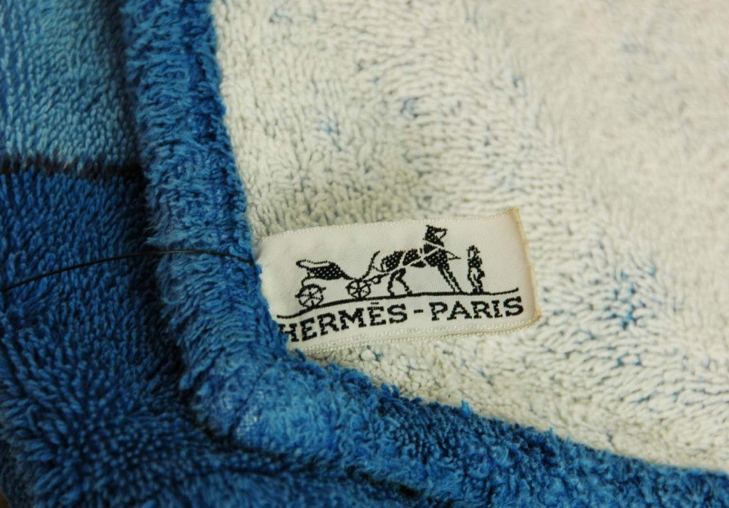 HERMES Blue Cotton Beach Towel with Leopard Painting image 3