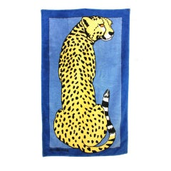 HERMES Blue Cotton Beach Towel with Leopard Painting