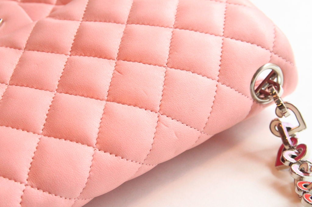 "Chanel Valentine Heart Chain Pink Quilted Leather 10"" Flap Bag For Sale 2"