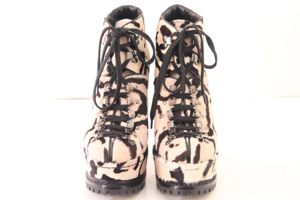 ALAIA Snow Leopard Pony Hair Platform Hiking Boots - sz 38 2