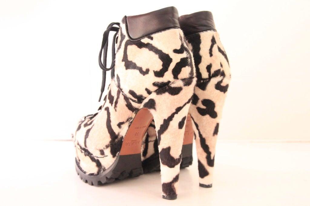 ALAIA Snow Leopard Pony Hair Platform Hiking Boots - sz 38 3