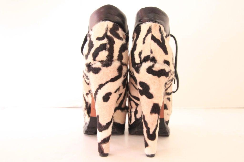 ALAIA Snow Leopard Pony Hair Platform Hiking Boots - sz 38 4