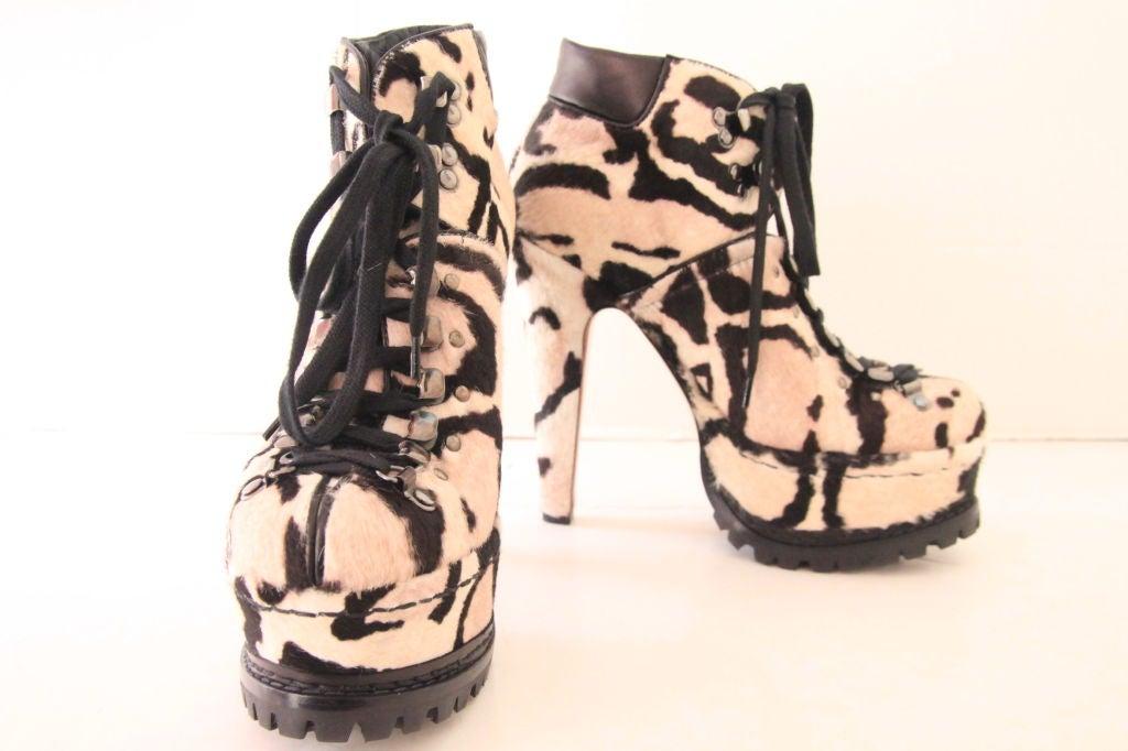 ALAIA Snow Leopard Pony Hair Platform Hiking Boots - sz 38 5