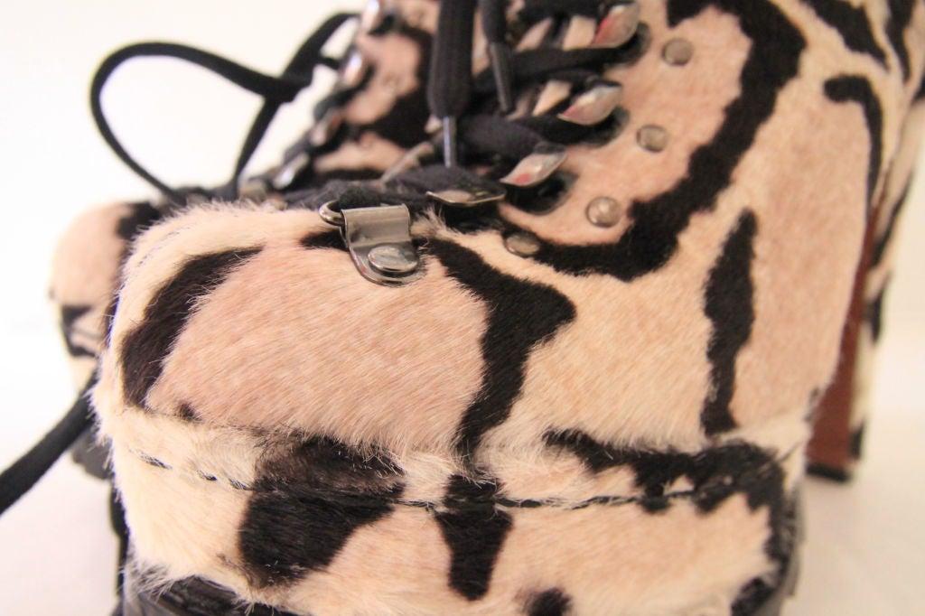 ALAIA Snow Leopard Pony Hair Platform Hiking Boots - sz 38 6