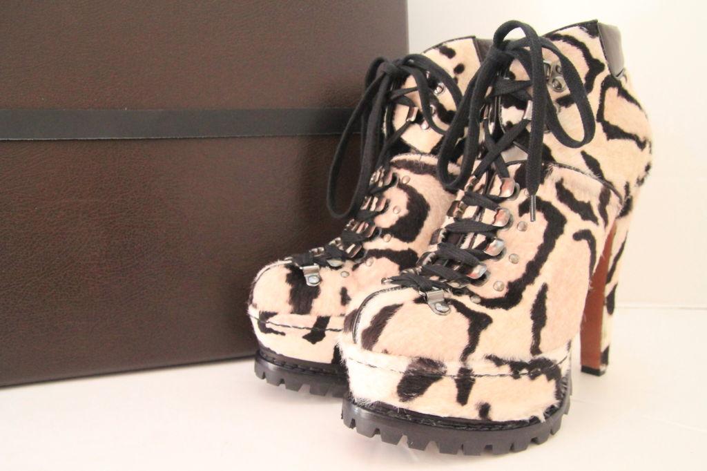 ALAIA Snow Leopard Pony Hair Platform Hiking Boots - sz 38 8