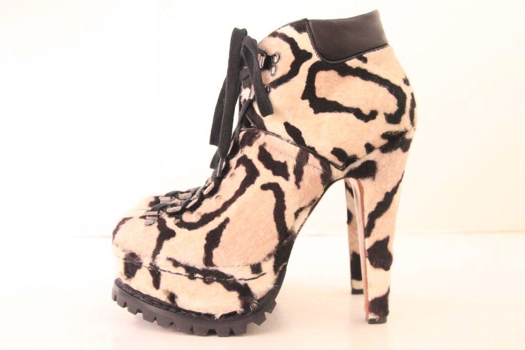 ALAIA Snow Leopard Pony Hair Platform Hiking Boots - sz 38 9