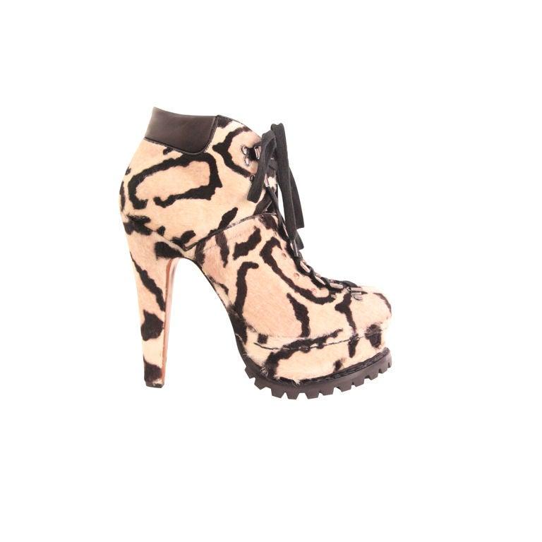 ALAIA Snow Leopard Pony Hair Platform Hiking Boots - sz 38 1