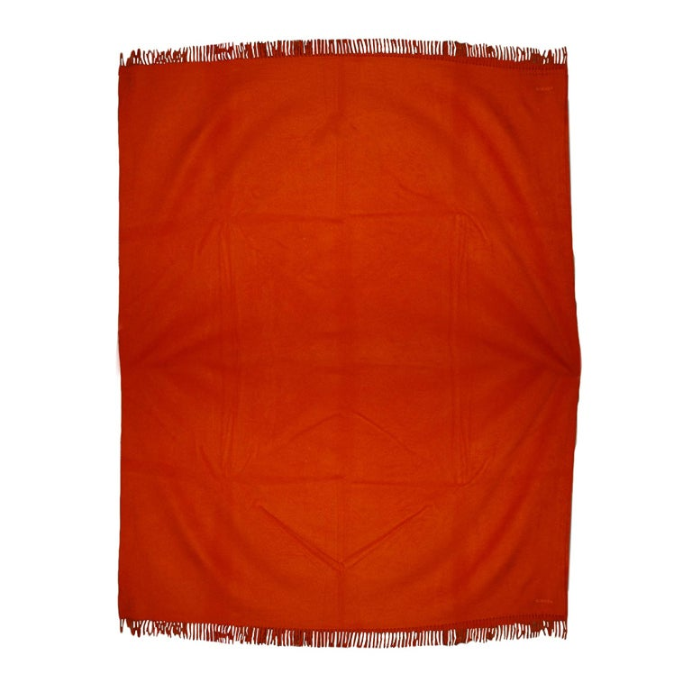 Hermes Orange Cashmere Throw With Fringes At 1stdibs