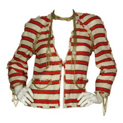 CHANEL Red/White Stripe Jacket with Chains