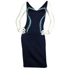 PRADA Blue Satin Cocktail Dress with Rhinestones