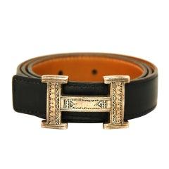 HERMES Black Touareg H Belt With Sterling Buckle - 70 CM