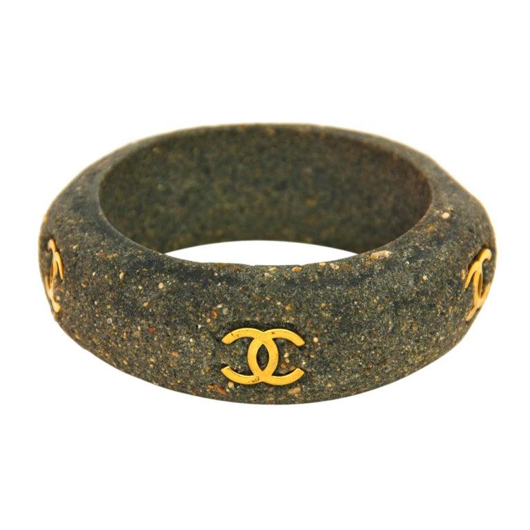 CHANEL Vintage '94 Grey Stone Bangle Bracelet w Inset Gold Tone CCs 1