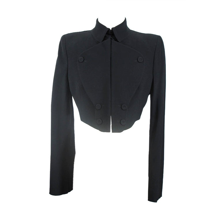 Alexander McQueen Black Cropped Jacket at 1stdibs