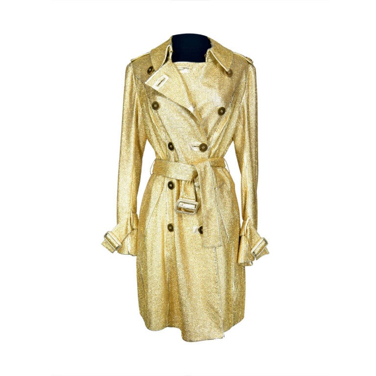 Burberry Prorsum Gold Leather Studded Trench Coat At 1stdibs