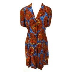 Chanel Brown Silk Print 80's Dress