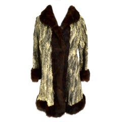 Chanel 1980 Beige and Brown Persian Lamb Fur Coat